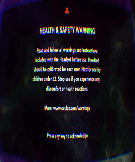Oculus Rift Health Warning